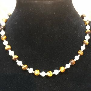 Genuine Dainty Pearl and Tiger Eye Necklace